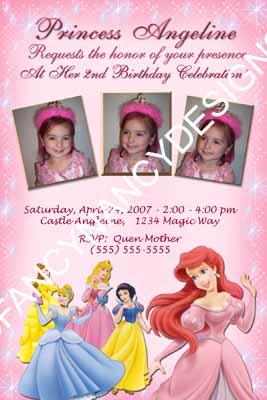 Personalized Photo Disney Princess Birthday Invitation