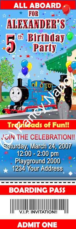 thomas the train tank engine custom ticket birthday party invitations cards a1